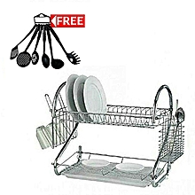 Dish Rack Kitchen Utensils Organizer Medium Size + a FREE Set of 6 Non-Stick Cooking Spoons