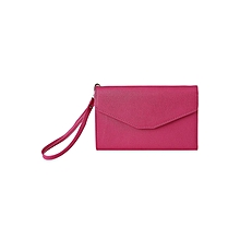Pure Color Pu Envelope Clutch - Rose Red