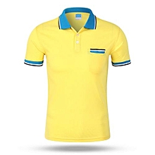 Best Sale Fashion Casual Men's Summer Breathable Short Sleeves Polo Shirts-Yellow