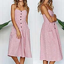 New Summer Women's Floral Print Sleeveless Shoulder-Straps Buttoned Backless Sexy Dress With 20 Colors Optional (Pink)