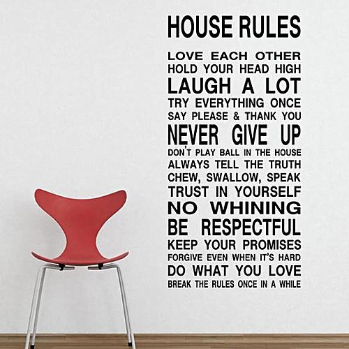 Buy Sunshine House Rules Wall Sticker PVC Letter Pattern Wall Art ...