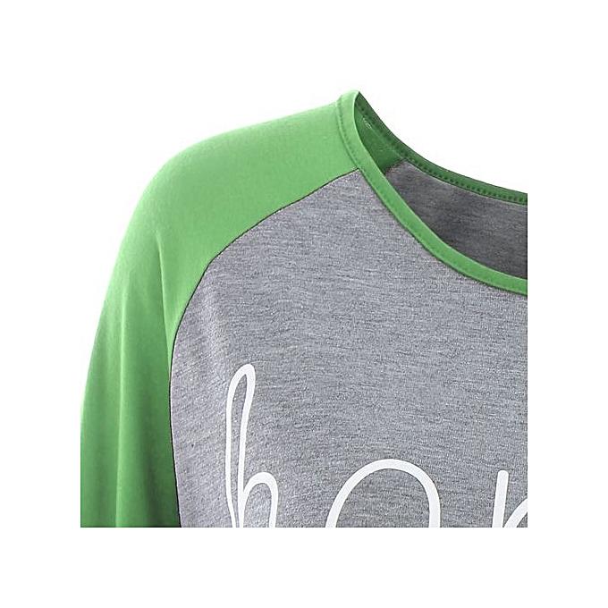 aaa786d2674 Fashion Plus Size Raglan Sleeve Happy Baseball T-shirt - GREEN ...