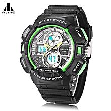 AK16127 Dual Movt Sport Watch Calendar Stopwatch Alarm Men Wristwatch-Green-Green
