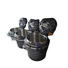 3PCs Food Warmer with Stainless Steel Interior - Black