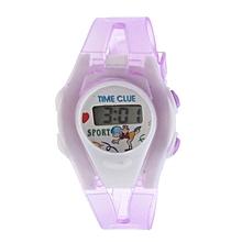 Boy Girl Student Sport Time Electronic Digital LCD Wrist Watch Purple