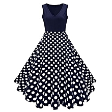 Woman Vintage Print Fit&flare Dress - Blue Dot
