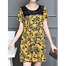 Women Sexy Lace Print Short Sleeved Dresses Round Neck Mini Dress