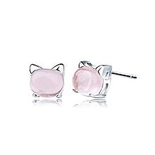 Cat Kitty Genuine Rose Quartz White  925 Sterling Silver Stud Earrings