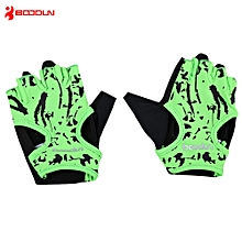 BOODUN 7150694 Paired Women Bodybuilding Gym Dumbbell Sport Yoga Half Finger Gloves Neon Green
