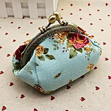 bluerdream-Women Lady Retro Vintage Flower Small Wallet Hasp Purse Clutch Bag-Blue