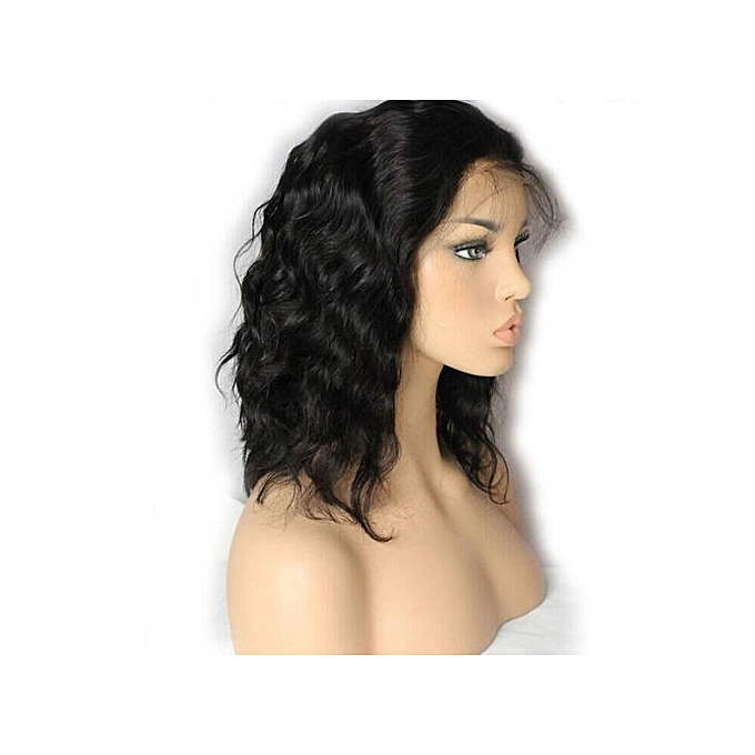 Brazilian Less Lace Front Full Wig Bob Wave Black Natural Looking Women Wigs a98521975