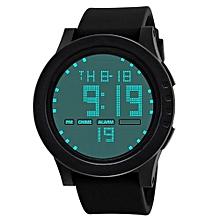 Men Fashionable Military Stainless Steel Digital LED Date Sport Quartz Wrist Watch-Black