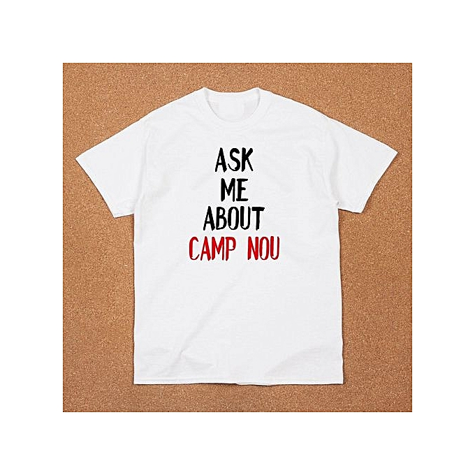c87ee659eb3 Mens Ask Me About Camp Nou Funny White Tee Shirt Fc Barcelona Football  Soccer Fans Lovers