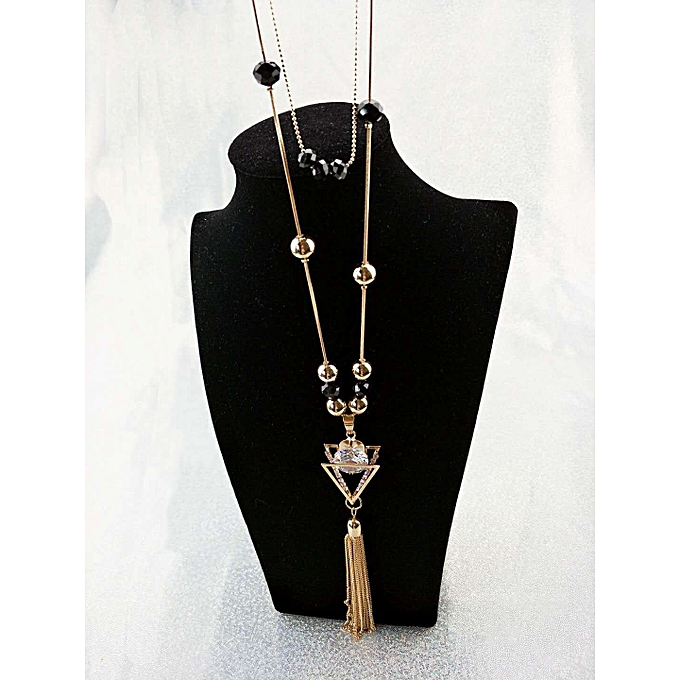 Han Ban necklace double the layer triangle chain Zircon pearl Lou empty  diamond long style sweater 85cb4d240a7