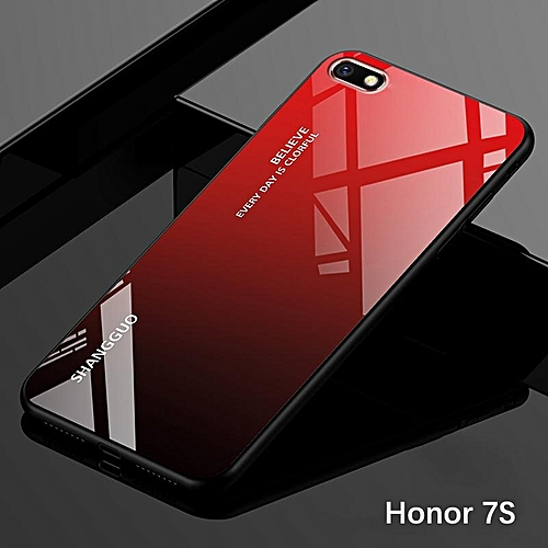 official photos b290b 45844 Gradient Glass Case Honor 7S Glass Case Full Cover Tempered Glass Back  Cover Casing For Huawei Honor 7S