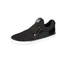 Black Slip On Casual Shoes With Elastic Band
