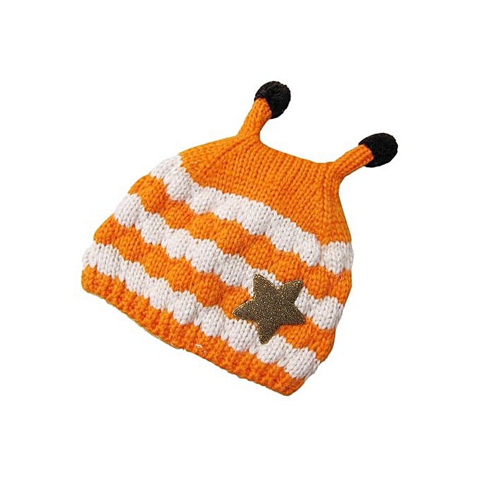 e109172a7aefe Fashion Braveayong Cute Baby Toddler Girls Boys Bees Patten Fur Ball  Knitted Winter Warm Hat Cap OR -Orange