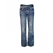 Blue Bleached Boys Slim Fit Jeans