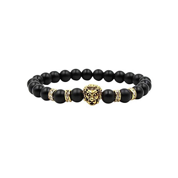a3a9134a Ranicken Shop Fashion Simple Black Scrub Ancient Silver Panther Lion Head  Men And Women Stretch Bracelets