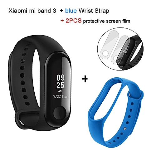Mi band 3 OLED Heart Rate Monitor Bluetooth 4.2 Smart Bracelet+Blue replacement band and 2 free screen protector