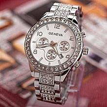 Geneva Women Fashion Luxury Crystal Quartz Watch -Silver