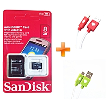 8GB  Memory Card with SD Adapter Standard black,Get Two Free LED Android Cables