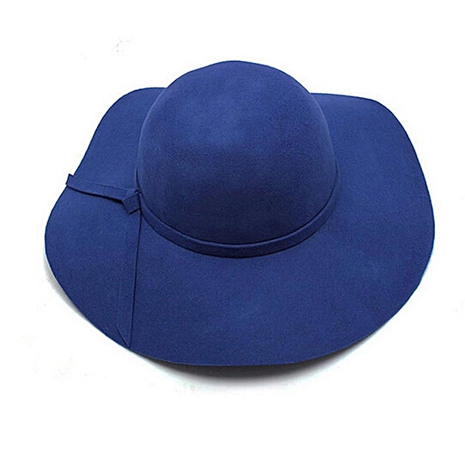 d300d22df Wenrenmok Store Women Girls Wool Wide Brim Felt Bowler Fedora Hat Lady  Floppy Cloche BU-Blue