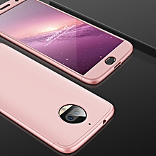 GKK for Motorola Moto G5S PLus Three Stage Splicing 360 Degree Full Coverage PC Protective Case Back Cover(Rose Gold)