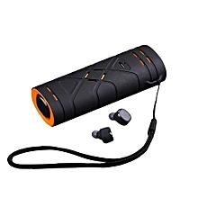 Wireless Earbuds, TWS Bluetooth Headphones Mini In-ear Stereo Earphones with Microphone - Black Orange