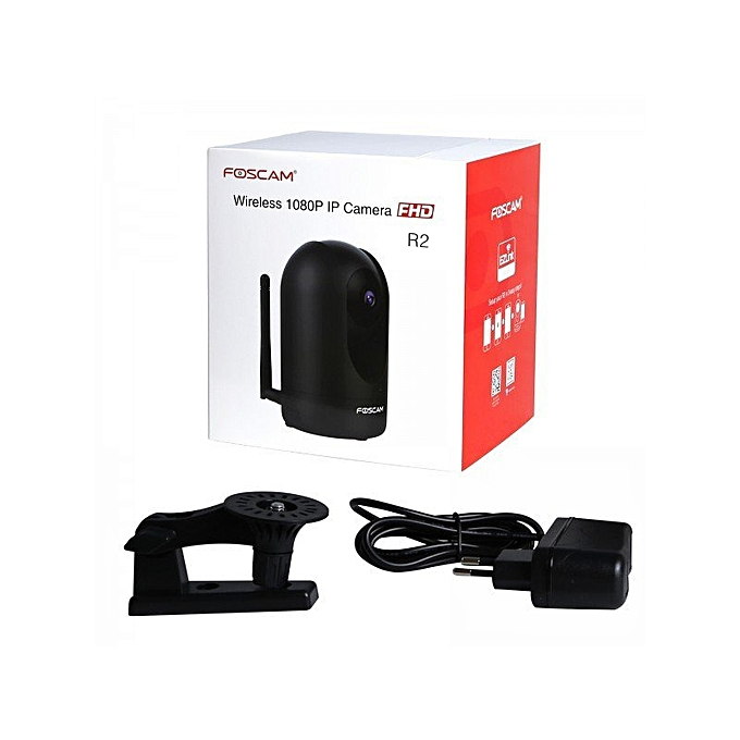 Foscam R2 Indoor Wireless WIFI / Pan/Tilt / 2 Ways Audio / Night Vision /  1080P Full HD IP Camera (Black) XINJIN