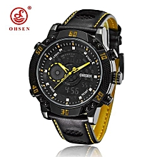 Famous Brand OHSEN Fashion Mens Sport LCD Wristwatches Digital Quartz Watches Leather Band Yellow Army Waterproof Watch Clocks