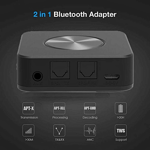 Bluetooth 5 0 Transmitter Receiver 2in1 Wireless APTX HD Low Latency A2DP  Music Optical SPDIF Aux RCA 3 5mm Stereo Audio Adapter