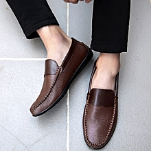 Cow Leather Loafers Men Casual Driving Shoes (Brown)