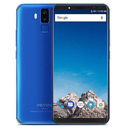 Vernee X1, 6GB+64GB, Dual Back Cameras + Dual Front Cameras, 6200mAh Battery, Face & Fingerprint Identification, 6.0 inch Android 7.1 MTK6763 Octa Core up to 2.0GHz, Network: 4G, OTG(Blue)