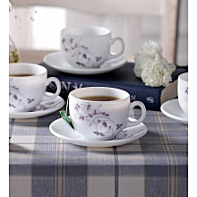 Tulip Dazzle Purple Opal Ware 160 ML Cup and Saucer - Set of 6