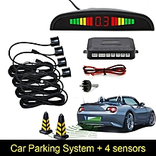 Car Rear Reverse 4 Parking Sensors LED Display Reversing Buzzer Alarm Kit