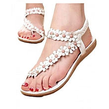 Summer Bohemia Sweet Beaded Sandals Clip Toe Sandals Beach Shoes -White (EU Sizing)