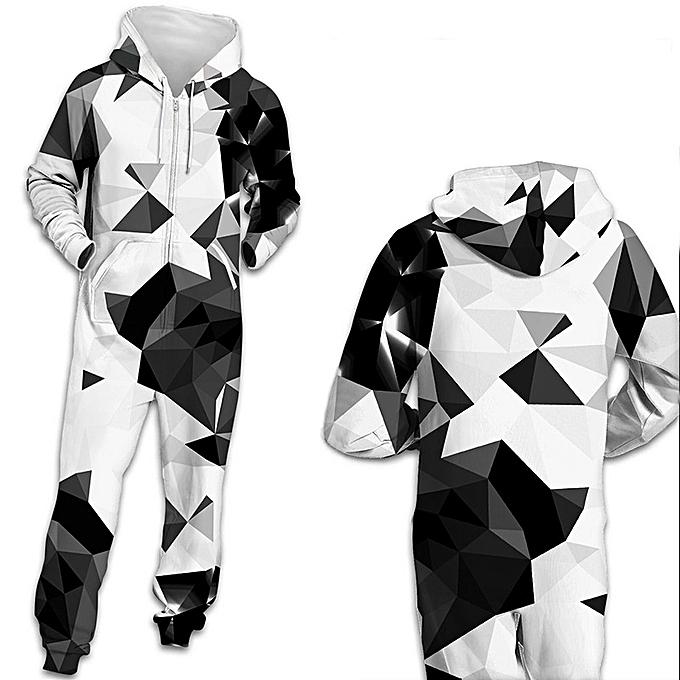 7e5642f107da Generic New Stylish Black White Geometry Print Rompers for Men and ...