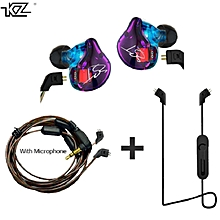KZ ZST Hybrid Earphone +Bluetooth Wire+Dynamic Drive HI-FI Bass earphones for Sport music smart phones purple