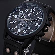 bluerdream-Vintage Classic Mens Waterproof Date Leather Strap Sport Quartz Army Watch -Black