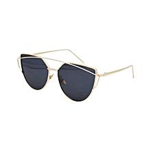Unisex Fashion Color Film Uv400 Reflective Sunglasses (gold + Dark Grey)