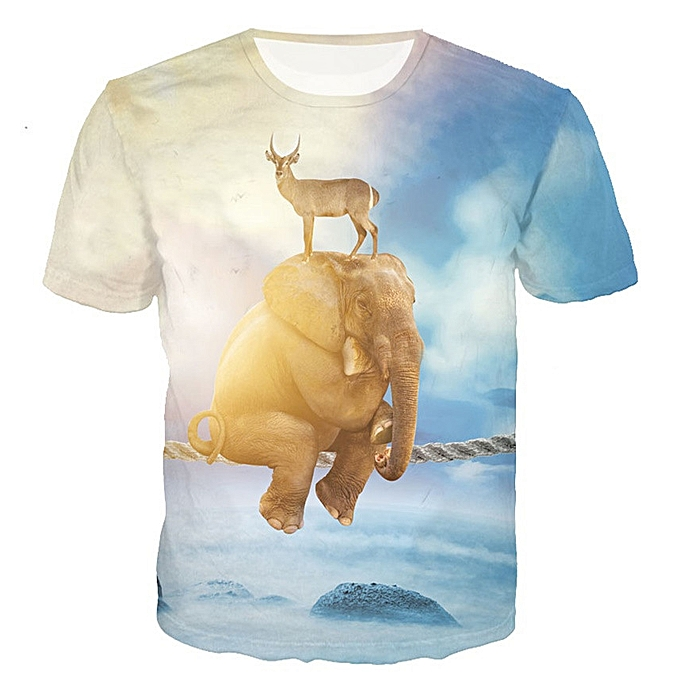 517f7e587e35 Mens Animal 3D Printing Tees Shirt Short Sleeve T-Shirt Blouse Tops