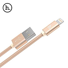 X2 1M Nylon Knitted Charging Cable 8 Pin Interface - Golden