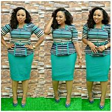 Women's Slim Professional Striped Lotus Leaf Top + Half Skirt Fashion Casual Suit