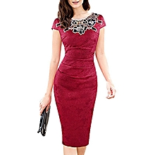 Vintage Embroidered Ruched Pencil Dress - Red
