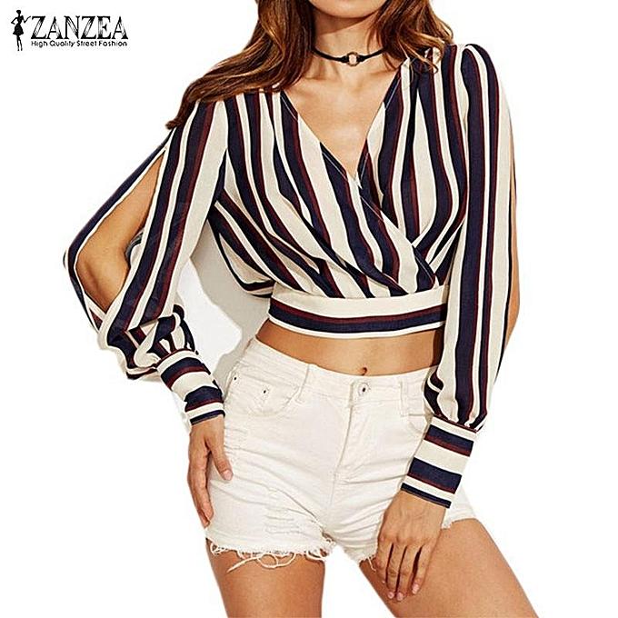 432b9e09acf ZANZEA Women Off Shoulder Crop Tops Fashion Striped Long Sleeve V Neck  Female Elegant Blouse Tops