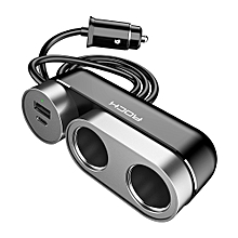 Rock 2 In 1 Multi-functional Cigarette Socket Lighter Splitter Phone Car Charger Car Cigarette Lighter Socket, Version PD (Black)