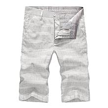 Men's Breathable Solf Cotton Linen Plaid Mid-Waist Slim Casual Shorts Pants