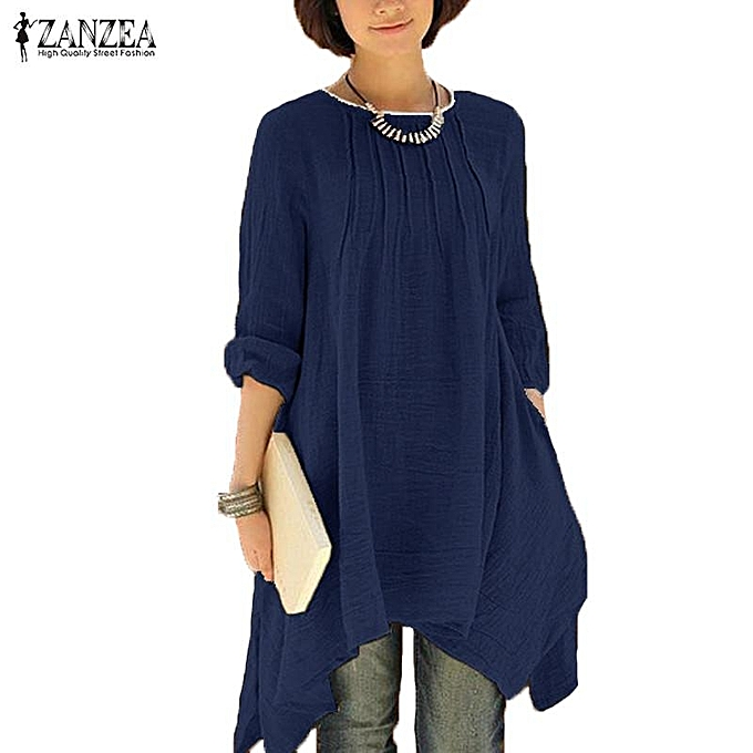 ZANZEA Women Vintage Solid O-Neck Pleated Long Sleeve Buttons Irregular Hem  Casual Loose Oversized Long Shirt Blouse Tops (Navy)