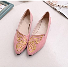 AREQW New Korean Spring Butterfly Embroidery Shoes Pointed Female Shoes  Women  039 s Flat c30216b48835